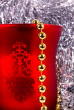 Christmas red vase. Stock Photos