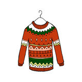 Christmas red vector sweater Royalty Free Stock Photography