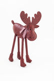 Christmas red vintage moose deer with a scarf isolated Stock Photos