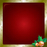 Christmas red wallpaper. Beautiful christmas wallpaper with frame in golden color Royalty Free Stock Images