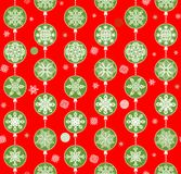 Christmas red wallpaper with paper hanging snowflakes Stock Photography