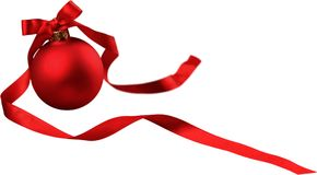 Red Christmas bauble with ribbon with copy space. Christmas red white background ball celebration decoration Royalty Free Stock Images