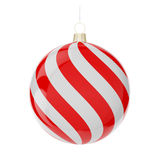 Christmas red-white ball. Red-white christmas ball hanging on white. 3d render with HDR Stock Photography