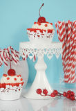 Christmas red and white cupcakes Stock Images