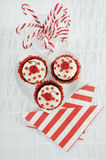 Christmas red and white cupcakes Stock Photo