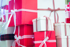 Christmas  red and white gifts box Stock Photo
