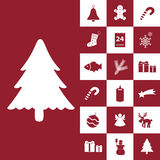 Christmas red and white icons collection Royalty Free Stock Images