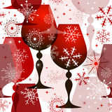 Christmas red-white seamless pattern. Christmas translucent seamless pattern with red wine glasses and filigree snowflakes. (vector EPS 10 Royalty Free Stock Images