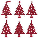 Christmas red and white tree decoration collection Stock Image