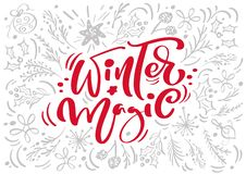 Christmas Red Winter Magic Calligraphy Lettering vector text with winter xmas elements in scandinavian style. Creative. Typography for Holiday Greeting card stock illustration