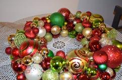 Christmas Ornaments Wreath  Stock Photo