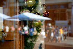Christmas reflection in summer time royalty free stock photo