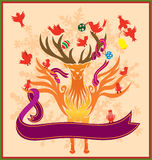 Christmas Reindeer. A template for varieties of Christmas themed projects, invitation or greeting cards, decorated with beautiful reindeer, and twelve dove vector illustration