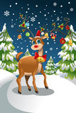 Christmas reindeer. A vector illustration of a Christmas reindeer in the snow Royalty Free Stock Photography