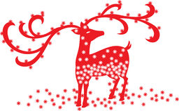 Christmas Reindeer. A red Christmas reindeer flooded with snow flakes royalty free illustration