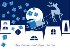 Christmas reindeer background. Color illustration of christmas reindeer and houses silhouettes by night vector illustration