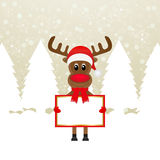 Christmas reindeer with banners Stock Photography