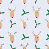 Christmas reindeer and berries pattern royalty free stock photography