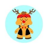 Christmas reindeer biker Stock Images