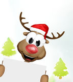 Christmas Reindeer Blank Board Trees Graphic Royalty Free Stock Photography
