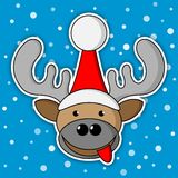 Christmas reindeer - blue background with snow Stock Images