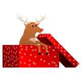 Christmas reindeer in the box vector Stock Images