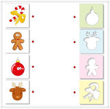 Christmas reindeer, candy cane, gingerbread man and ball. Educat. Ional game for kids. Choose the correct silhouettes on the opposite side and connect the points Stock Photography