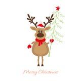 Christmas reindeer with Christmas tree Stock Images