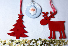 Christmas. Reindeer and Christmas tree isolate on. White royalty free stock image