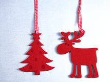 Christmas. Reindeer and Christmas tree isolate on. White royalty free stock photos