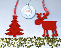 Christmas. Reindeer and Christmas tree isolate on. White royalty free stock photo