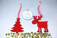 Christmas. Reindeer and Christmas tree isolate on. White stock image