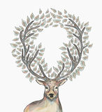 Christmas reindeer circle leaves composition EPS10 stock images
