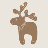 Christmas reindeer cookie. Christmas decorated reindeer cookie on beige background Stock Image