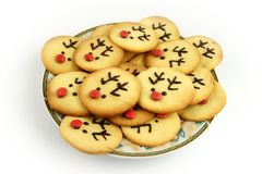 Christmas reindeer cookies on plate Royalty Free Stock Photo