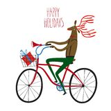 Christmas reindeer cyclist illustration. Vector illustration with cute christmas deer on city bicycle with gift box in basket Stock Image