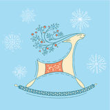 Christmas reindeer. Deer on a blue background Stock Image