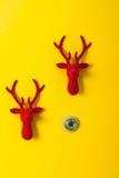 Christmas reindeer door decorated with velvet. Christmas happy reindeer door decorated with velvet Royalty Free Stock Photos