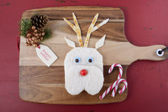 Christmas Reindeer Face Sandwich Royalty Free Stock Image