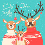 Christmas reindeer family. Cute card with deer is Royalty Free Stock Photos
