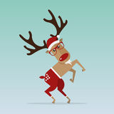 Christmas Reindeer in flat design for Christmas holiday decoration. Cartoon character. Vector. Royalty Free Stock Image