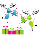 Christmas reindeer with gift boxes Royalty Free Stock Photography