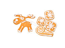 Christmas Reindeer and gifts on the sledge cookies Stock Photography