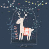 Christmas reindeer in a glass vase Royalty Free Stock Photography