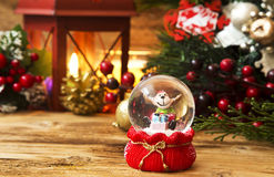 Christmas Reindeer in a Globe Stock Photos