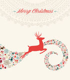 Christmas reindeer greeting card illustration Royalty Free Stock Images