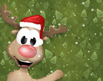 Christmas Reindeer Greeting Trees Background Stock Photography