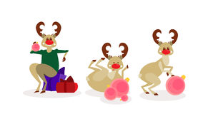 Christmas Reindeer Group Isolated Happy New Year Celebration Cartoon Characters Stock Image