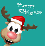 Christmas Reindeer Happy Smile. Cartoon comic graphic illustration Royalty Free Stock Photography