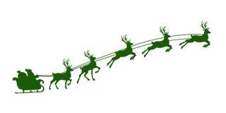 Christmas reindeer harness. Silhouette of Christmas reindeer harness and Santa Claus. Vector illustration Stock Image